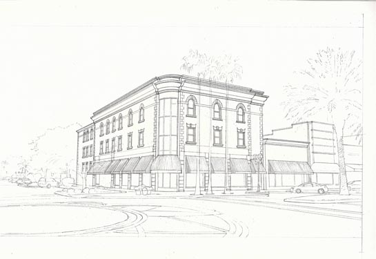Building Elevation Sketch of 166 South Beach Street