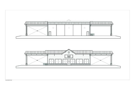 Atlantic Marine Boat Dealership Front & Rear Elevations