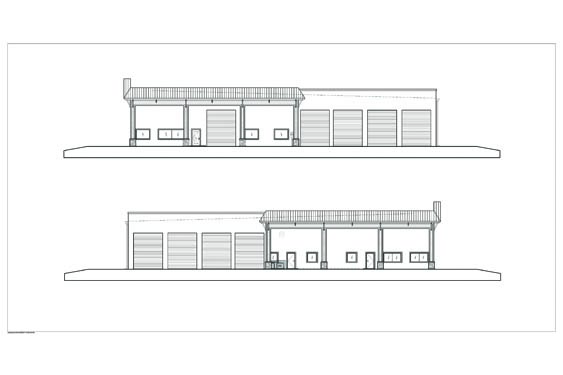Atlantic Marine Boat Dealership Side Elevations