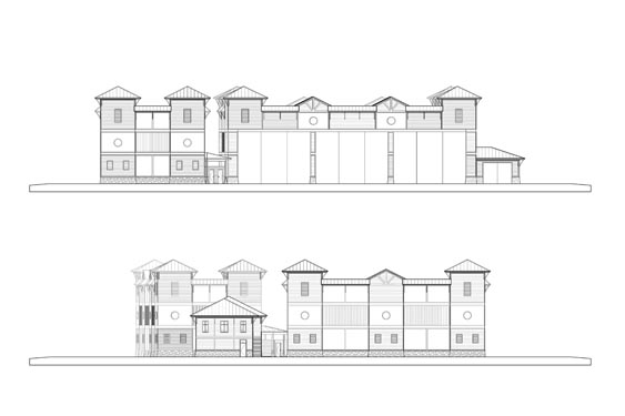 Coronado Island Marina Village Elevations Front/Rear Boat Storage