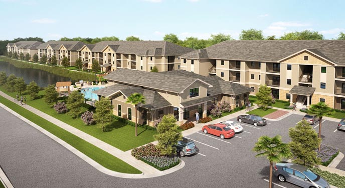 Eagle Landing Phase 1 Rendering of parking lot and building exteriors