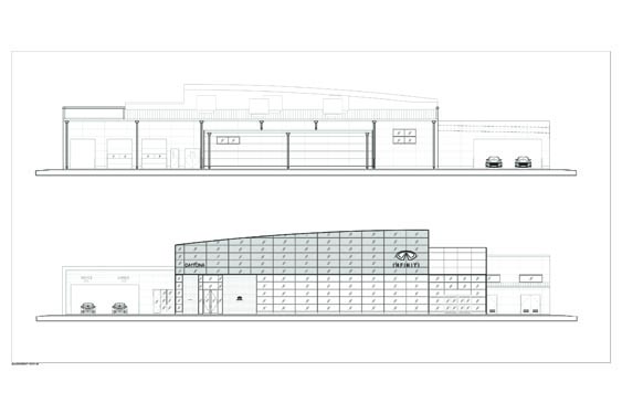 Infiniti Dealership Elevations of Front and Back