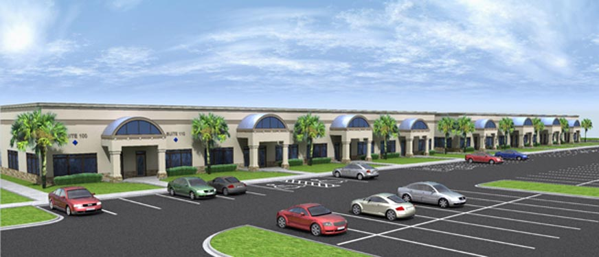 Mason Commerce project rendering of building exterior and lot