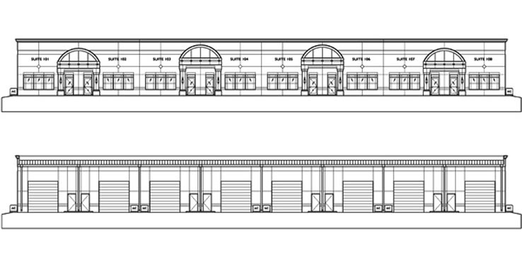 Mason Commerce project elevations of Front/Rear