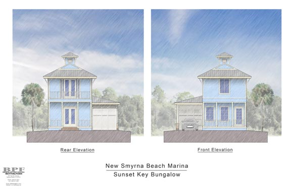 NSB Marina Sunset Key Bungalow Front/Rear Elevations