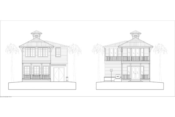 Big Coppit Key Bungalow Elevation Blue Prints