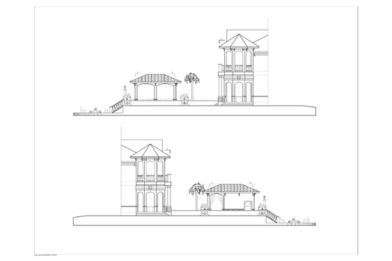 Phillips Residence cabana Side Elevations