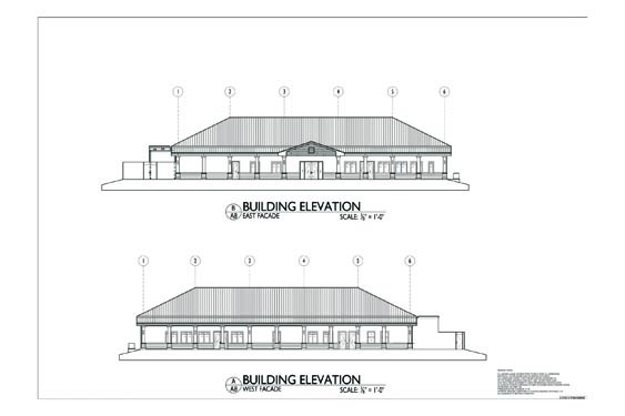 Plantation Oaks Clubhouse Elevations of Front/Rear