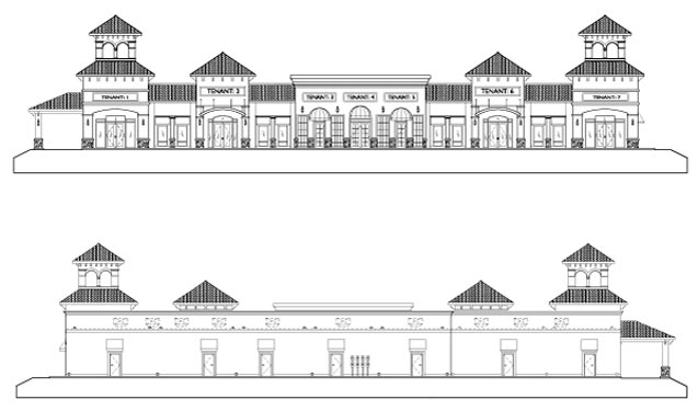 Southwinds Shoppes Elevations of the buildings
