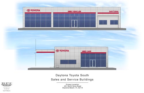 Daytona Toyota Building Sales and Service Building Elevations Combined
