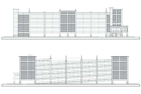 Daytona Parking Garage Elevations of Front/Back
