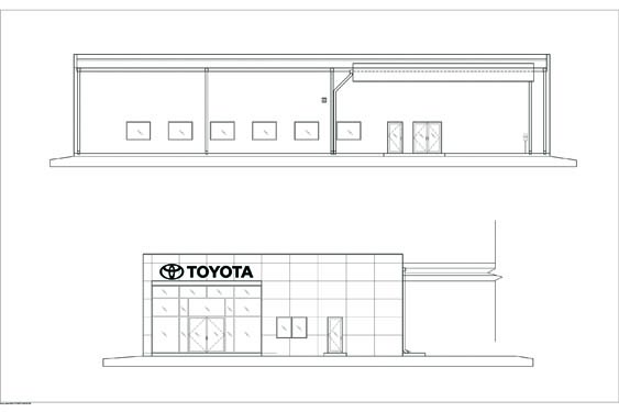 Daytona Toyota Sales Building Elevation Blueprints