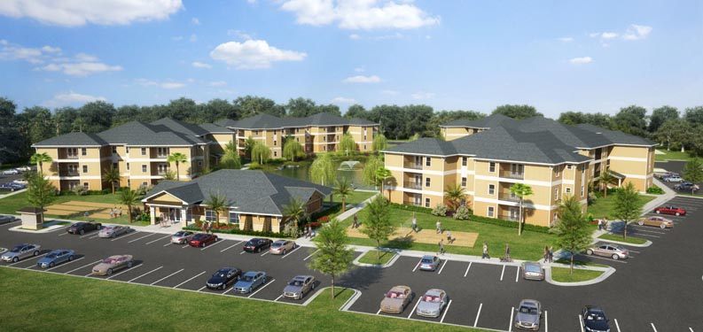 Eagle Landing Phase 2 building exterior and parking lot rendering