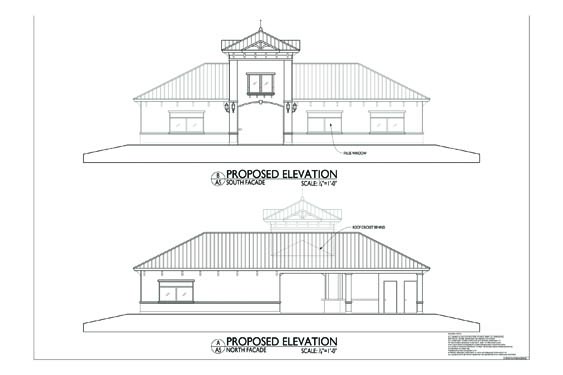 Grand Landing Clubhouse Elevations of building front/rear