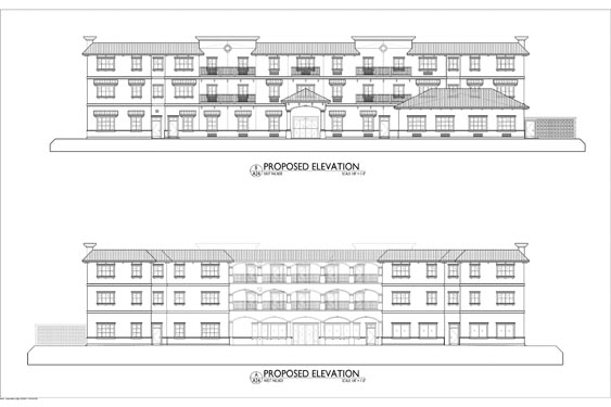 Heritage Waterside ALF Daytona Beach Elevation Blueprints of Front/Rear