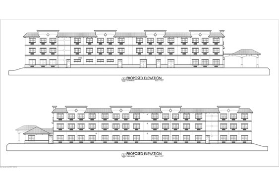 Heritage Waterside ALF Daytona Beach Elevation Blueprints of Sides of Building