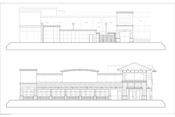 Houligans Restaurant and Bar Elevations of front/rear