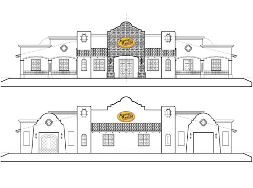 Maria Bonitas Restaurant Elevations Front/Rear