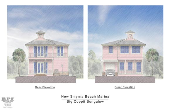 Proposed Front and Rear Elevations of Big Coppit Bungalow
