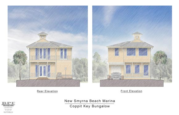 Proposed Front and Rear Elevations of NSB Marina Coppit Key Bungalow