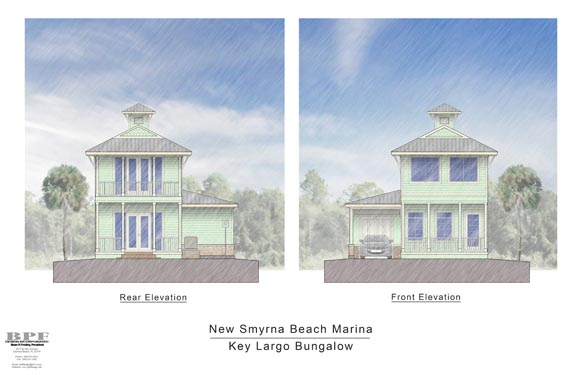 Proposed Rear/Front Elevations of the Key Largo Bungalow in NSB Marina
