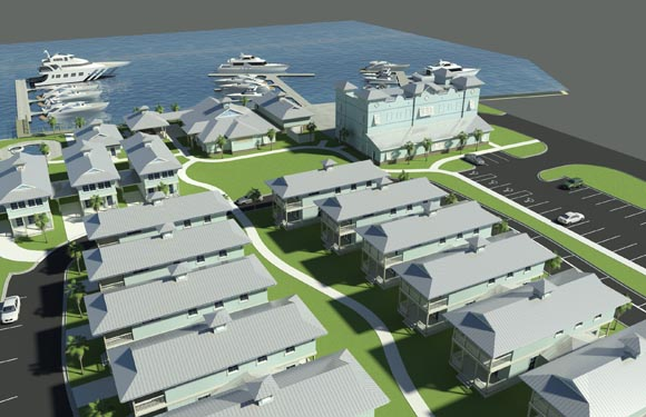 NSB Marina Rendering of bungalow courtyard paths