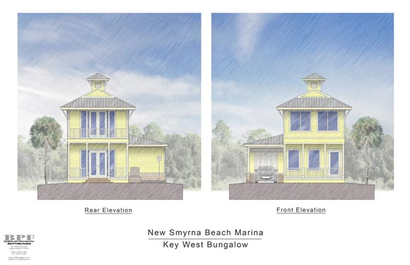Proposed elevations of the Key West Bungalow in New Smyrna Beach Marina
