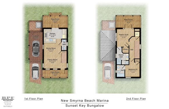 Floor Plans of the Sunset Key Bungalow in NSB Marina