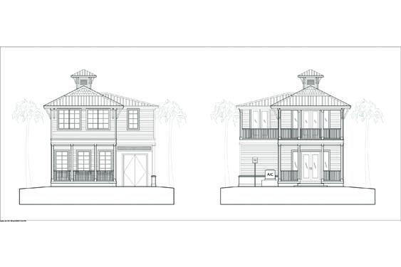 Front and Rear Elevations of the Bungalow Big Coppit Key at The NSB Marina