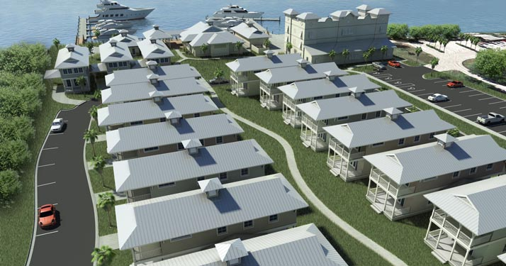 NSB Marina Rendering of couryard path between bungalows