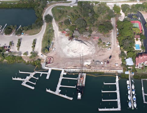 Aerial photo of the NSB Marina Construction Site