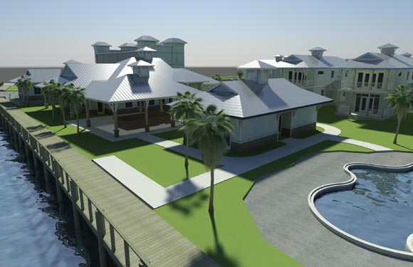 NSB Marina Rendering of poolside Bungalows