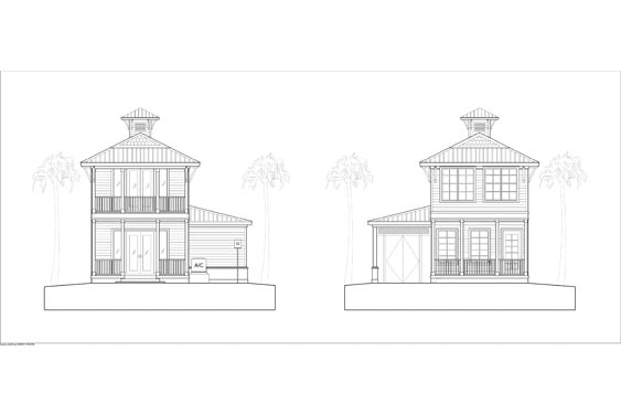 Proposed elevations of Key West Bungalow in NSB Marina