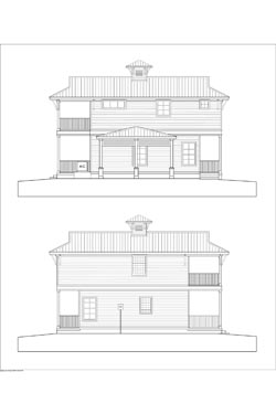 Proposed elevations of Sunset Key Bungalow in New Smyrna Beach Marina