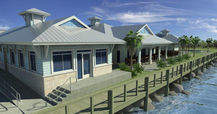 NSB Marina Rendering of some dockside bungalows
