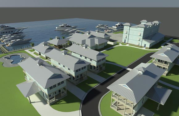 NSB Marina Rendering of bungalows and marine storage