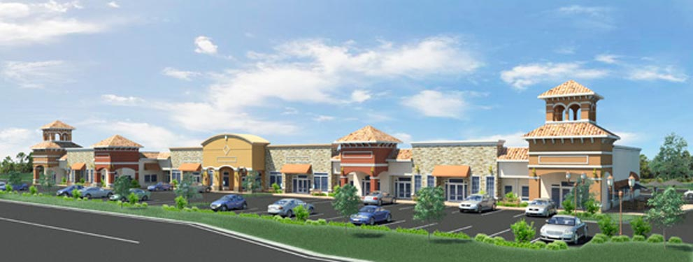 Tarragona Shoppes Rendering of Building Front and Parking Lot