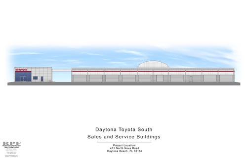 Daytona Toyota Building Sales and Service Building Rendering of Sides